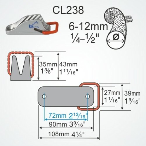 Clamcleat - CL 238 Spring-Gate Cleat