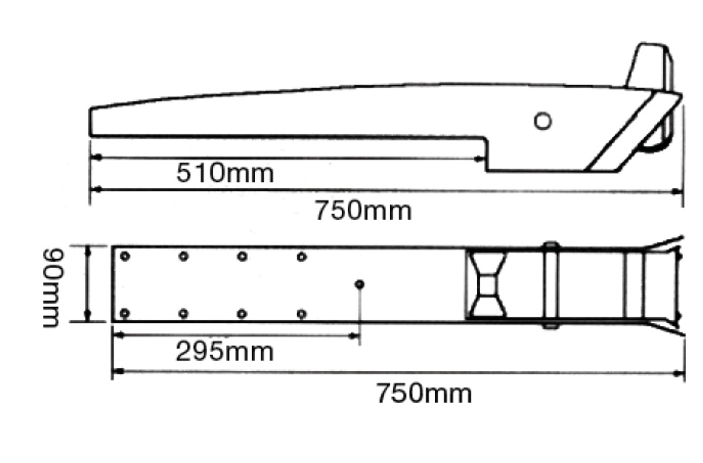 Ankarrulle vippbar aisi 316 l-750mm b-90mm passar 15-30 kg a