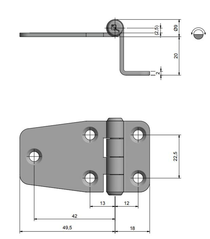 Gångjärn rostfritt, 67,5x37 mm h=20 mm