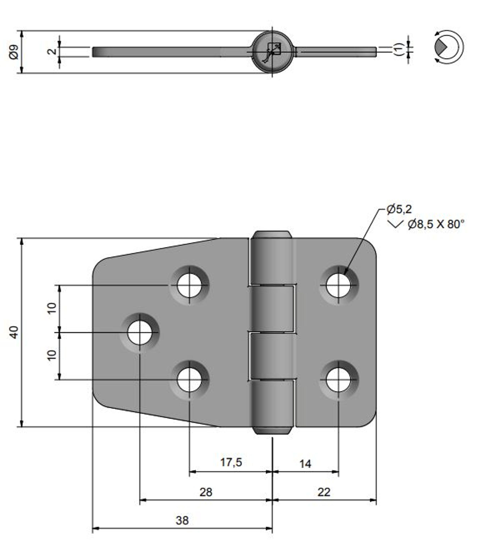 Gångjärn pol. mässing, 59x40 mm