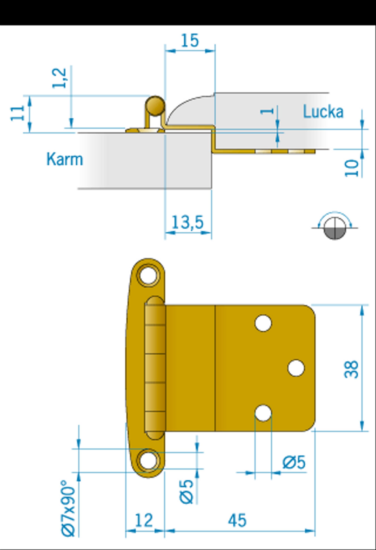 Gångjärn pol. mässing, 57x38mm