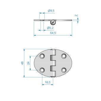 Gångjärn rfr, reverserat 64,4x48 mm
