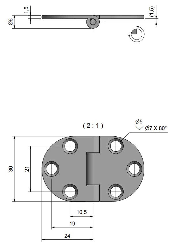 Gångjärn rostfritt, 47x30 mm reverserat