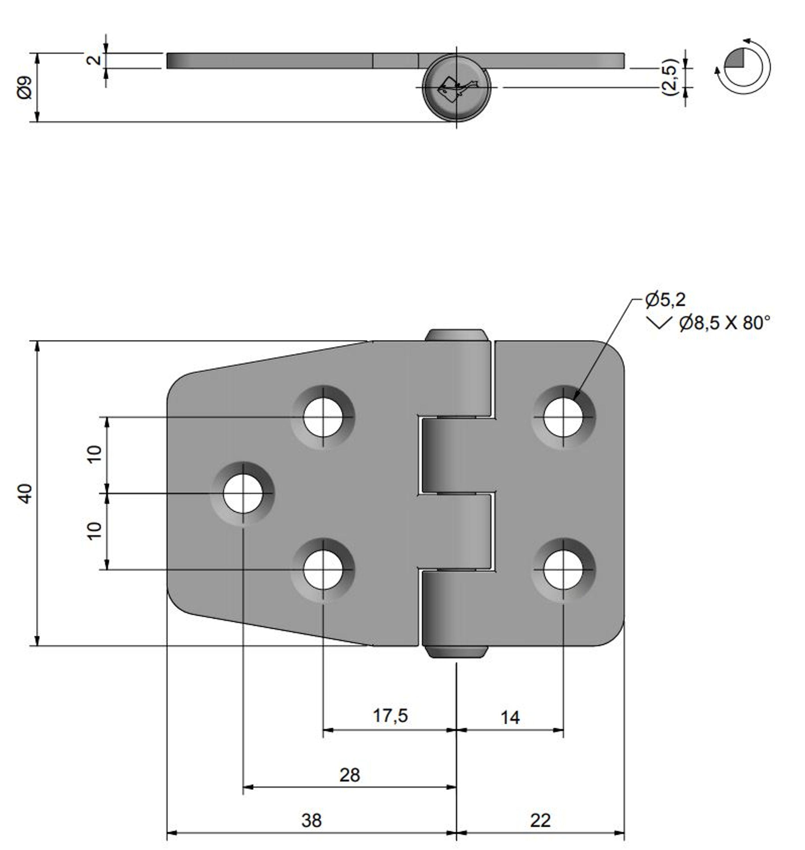 Gångjärn rostfritt, 59x40 mm reverserat