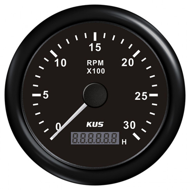 Kus varvräknare diesel 0-3000 rpm svart 12/24v ø85