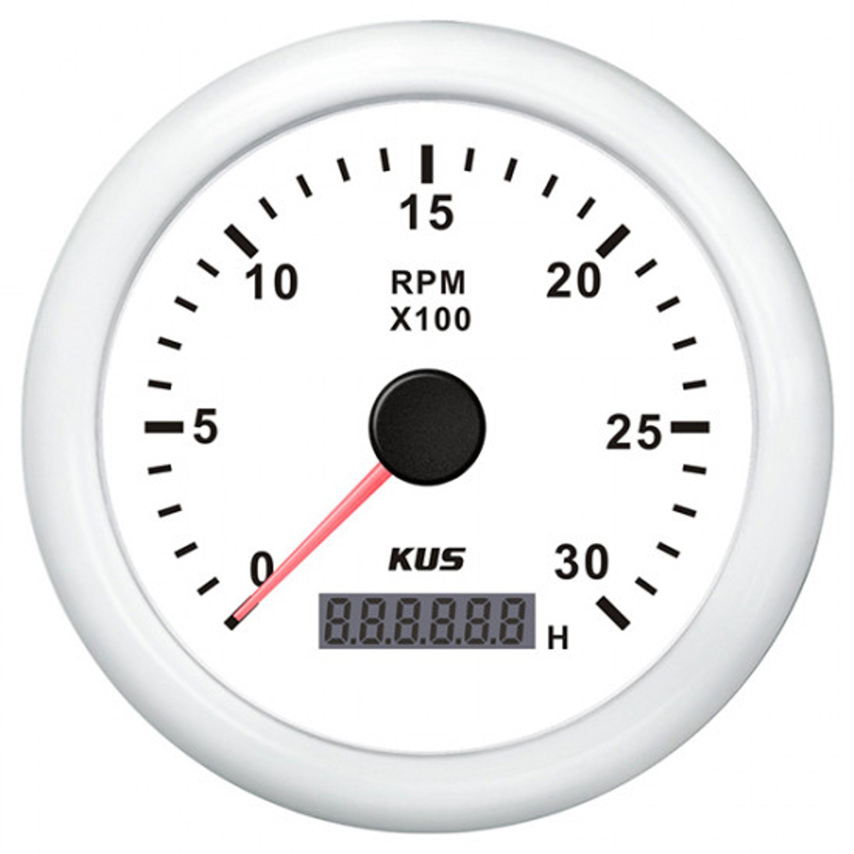 Kus varvräknare diesel 0-3000 rpm vit 12/24v ø85