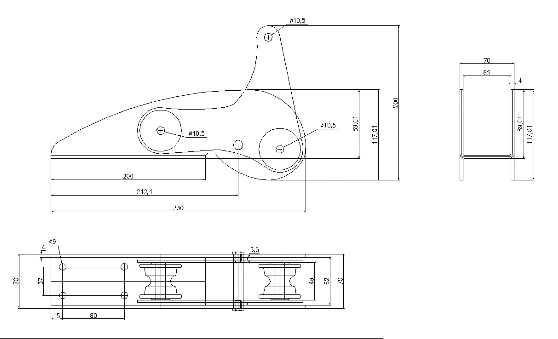 1852 ankarrulle aisi 316 max 10 kg ankare l-330 mm