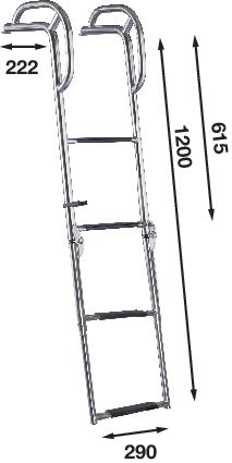 Stege för peke m handtag 4 steg 1200mm