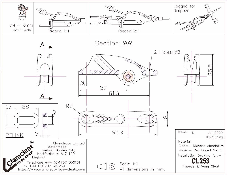 CL 253 Trapez- und Niederholerklemme - Kammklemmen