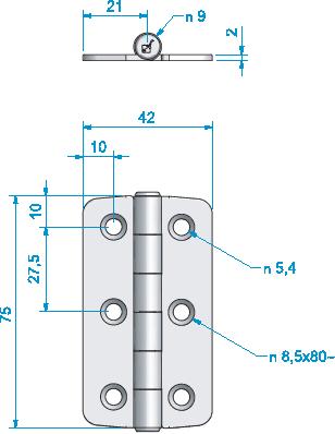 Gångjärn, rostfritt 42x75 mm