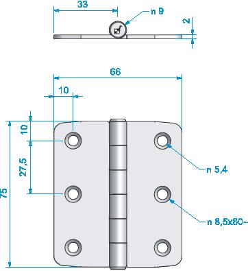 Gångjärn rostfritt, 75x66 mm