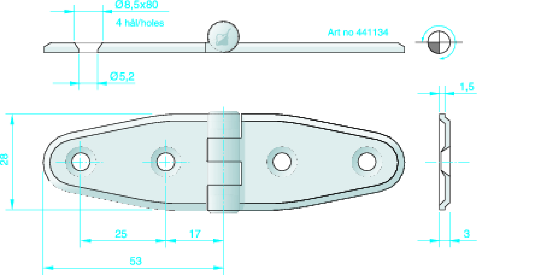 Gångjärn rostfritt, 106x30 mm