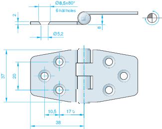 Gångjärn, rostfritt 76x37 mm