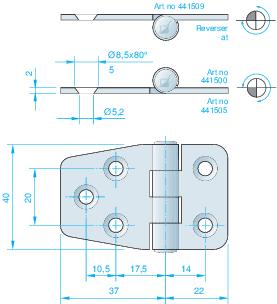 Gångjärn rostfritt, 59x40 mm