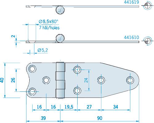 Gångjärn rostfritt, 129x40 mm