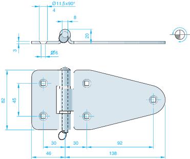 Gångjärn rostfritt 184×82 mm