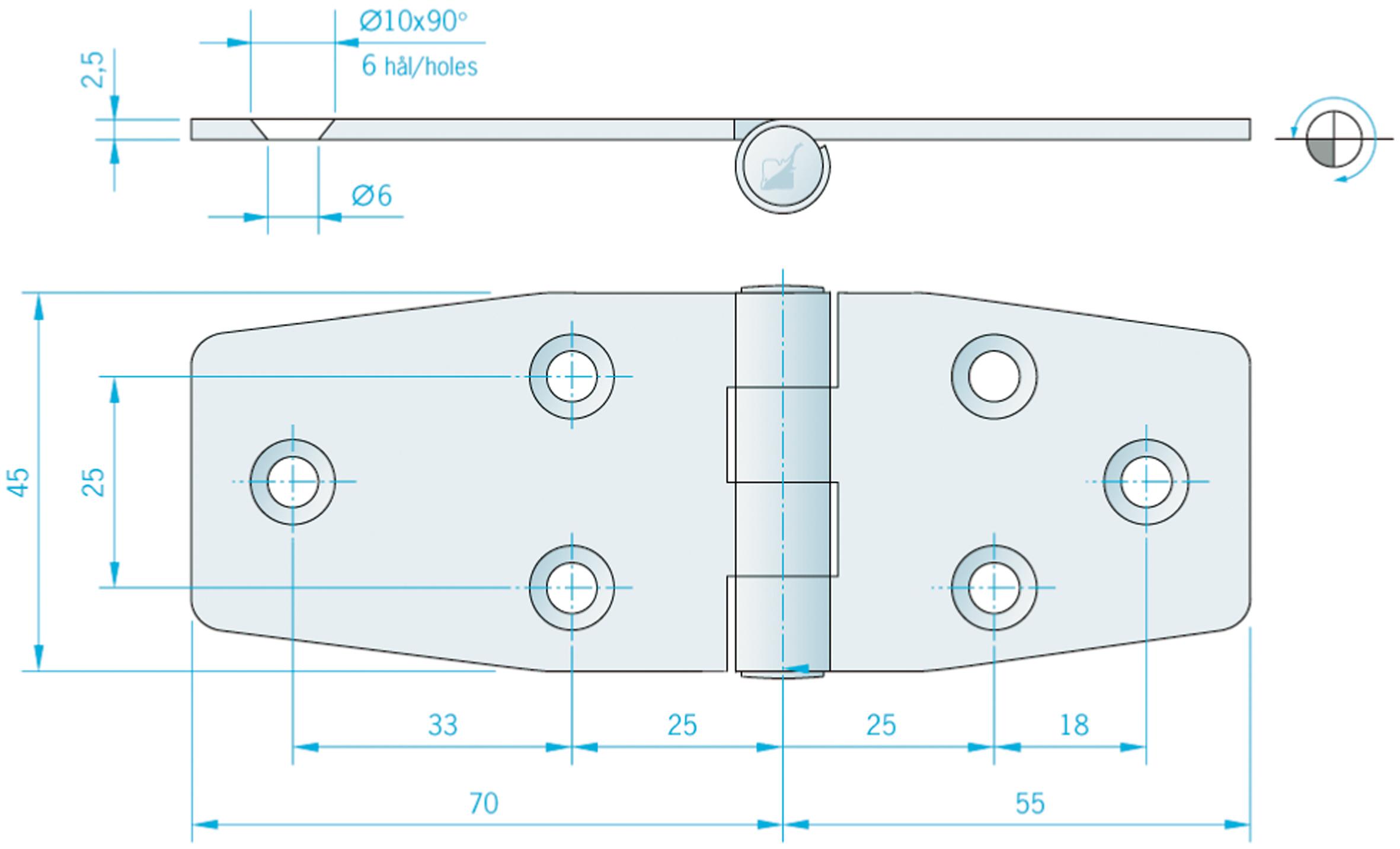 Gångjärn rostfritt, 125x45 mm reverserat