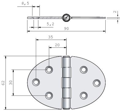 Gångjärn, rfr oval centrumknorr 90x62 mm