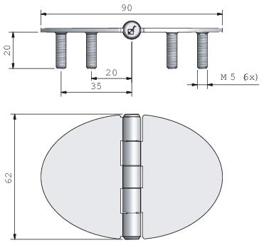 Gångjärn, rfr oval centrumknorra 80x62mm