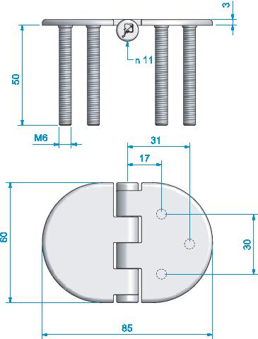 Gångjärn. rostfritt fast skruv 85x60 mm