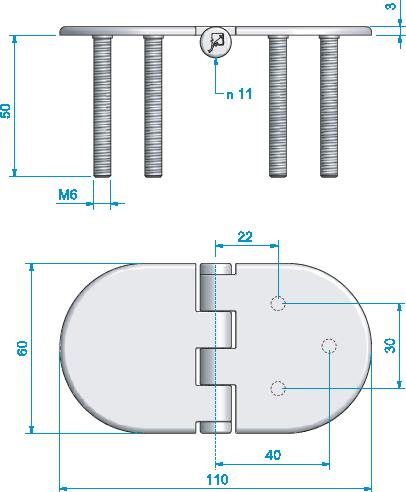 Gångjärn, rostfritt fast skruv 110x60 mm