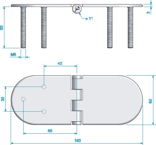 Gångjärn, rostfritt fast skruv 160x60 mm