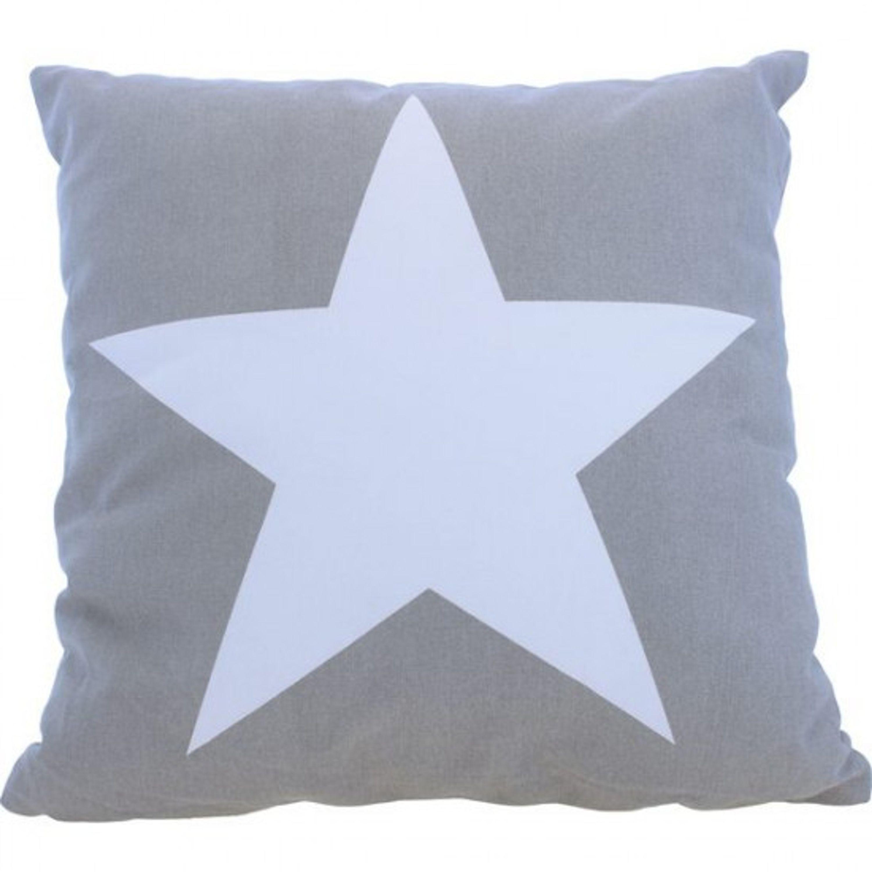 Kudde med stor stjärna grå 40cm 100%bomull