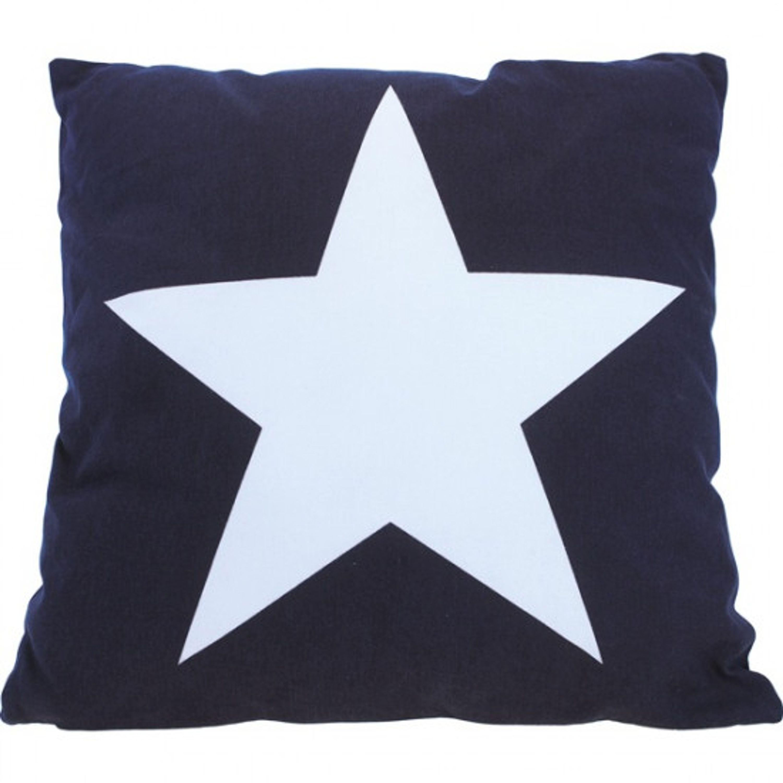 Kudde med stor stjärna marinblå 40 cm 100%bomull