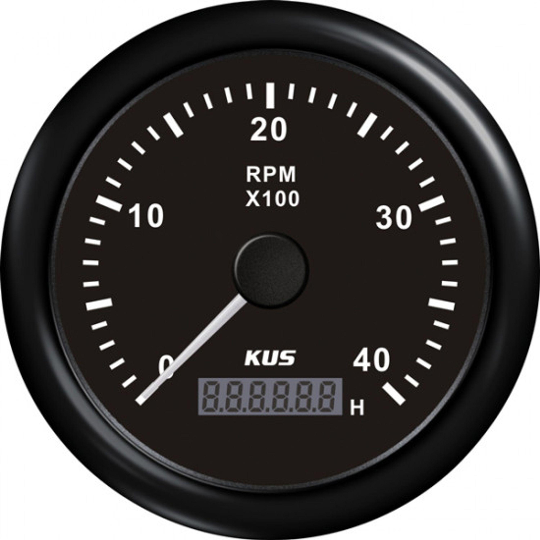 Kus varvräknare bensin 0-4000 rpm svart 12/24v ø85
