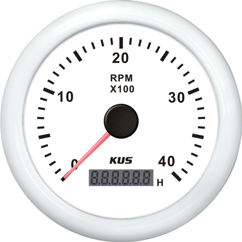 Kus varvräknare bensin 0-4000 rpm vit 12/24v ø85