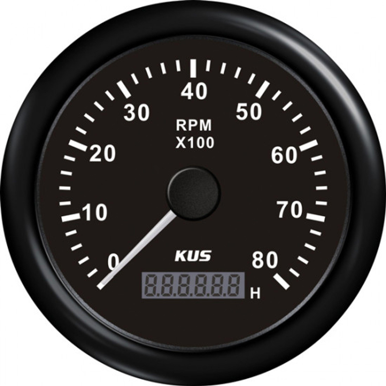 Kus varvräknare bensin 0-8000 rpm svart 12/24v ø85