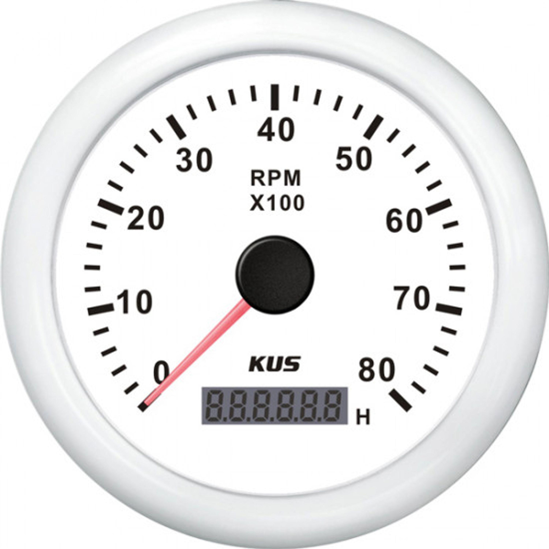 Kus varvräknare bensin 0-8000 rpm vit 12/24v ø85