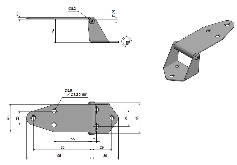 Gångjärn rostfritt, 134x40xh34 mm