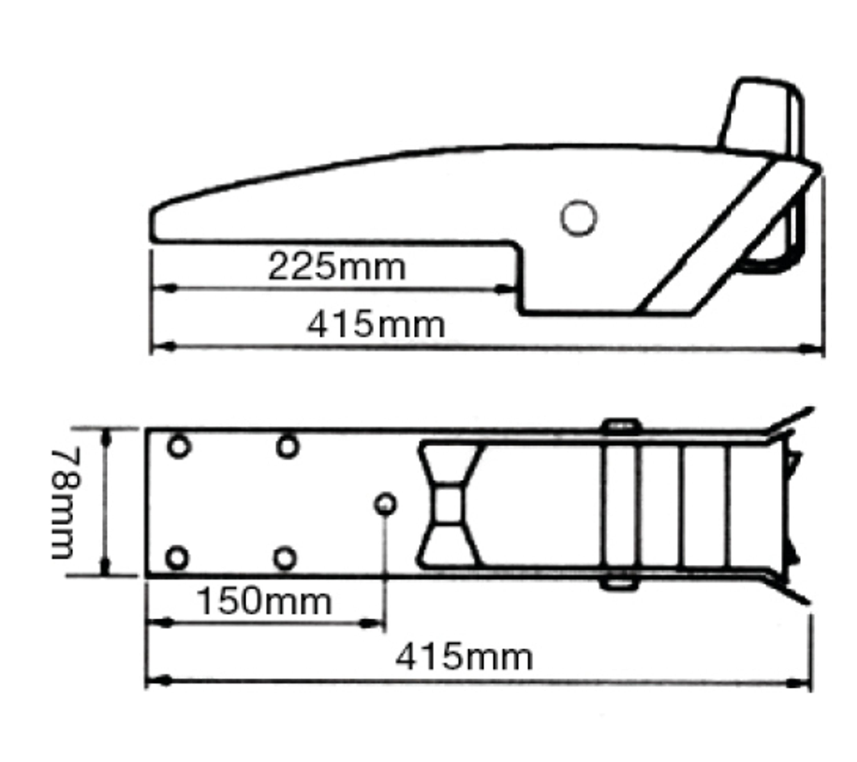 Ankarrulle vippbar aisi 316 l-415mm b-78mm passar 5-15 kg a