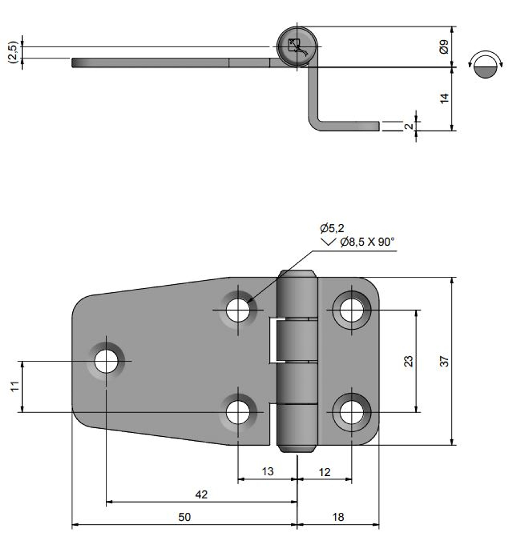 Gångjärn rostfritt, 67,5x37 mm h=15 mm