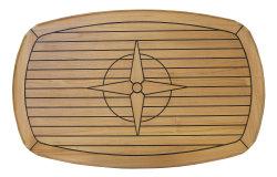 Tischplatte Teak mit abgerundeten Ecken