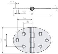 Scharnier 90x62mm