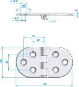 Scharnier 110x60mm