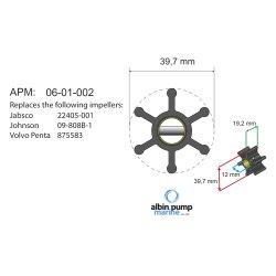 Impeller Albin pump 06-01-002